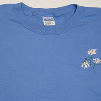 SALE - Small WILD DAISIES Iris Blue S/S April Flower of Month Tee Shirt  -  Price Embroidery Apparel