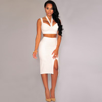 Halter Crop Top and Side Slit Bodycon Skirt Midi Dress