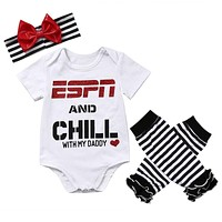 New Newborn Baby Girl Tops Romper +Leg Warmers Headband Outfit Clothes Set