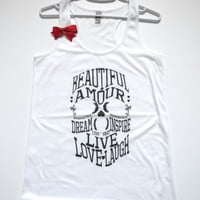 SALE - MEDIUM - SKULL TANK - Ruffles with Love - Racerback Tank - Womens Fitness - Workout Clothing - Workout Shirts with Sayings