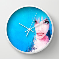 MonGhost XI - TheBlueDream Wall Clock by LilaVert
