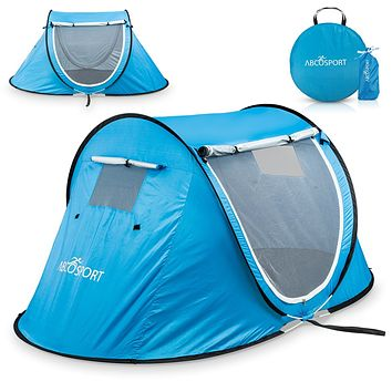 Pop Up Tent - Automatic Instant Tent - Portable Cabana Beach Tent - Fits 2 People - Windows and Doors on Both Sides - Water Resistant, UV Protection Sun Shelter - Carry Bag Included Sky Blue