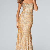 Strapless Gold Sequin Gown from JVN by Jovani