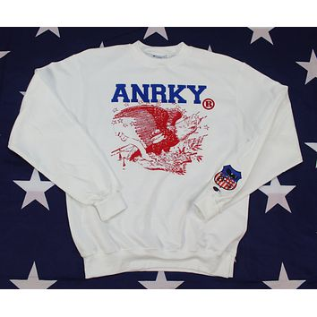White Crew Neck ANRKY Brand Logo Sweatshirt x Champion Brand x Blue Text