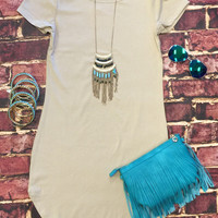 Fun in the Sun Tunic Dress: Stone