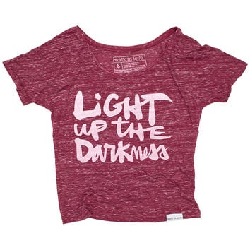 Light up the Darkness Maroon Marble Flowy Tee