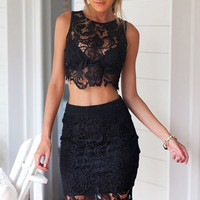 Black Lace Two-Piece Wrap Pencil Dress