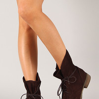 Victoria-1 Suede Round Toe Lace Up Bootie