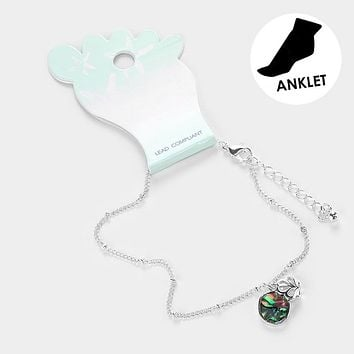 Abalone Cut Out Metal Shell Anklet