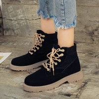 European Style Lace Up Low Chunky Heel Short Martin Boots