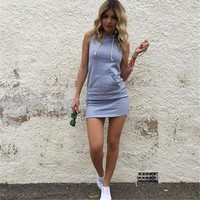 Womens Fashion Summer Dress Casual Sleeveless Hooded Front Pocket Mini Party Dresses Super Quality Vestidos drop shipping designer clothes