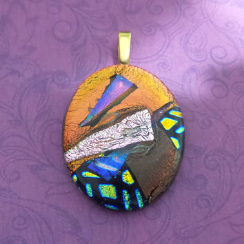 Colorful Pendant, Orange, Pink, Golden, Purple Dichroic, Fused Glass Jewelry - Selena- -5