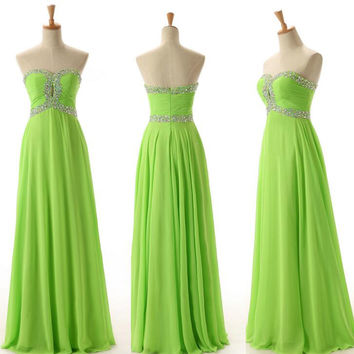 Lemon Green Chiffon and Beads Prom Gowns Homecoming Dresses pst0092