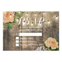 Rustic Wood Floral String Light Wedding RSVP Reply Card