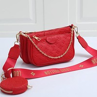 LV Louis Vuitton embossed letters solid color three-piece shoulder bag ladies shopping mahjong bag messenger bag Red