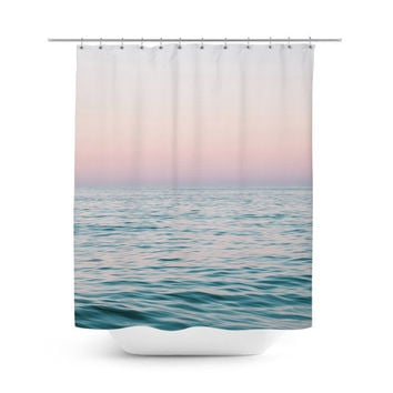 Pastel Sea - Shower Curtain, Beach Ocean Nautical Bathroom Decor, Pink and Blue Surf Chic Style Hanging Bathroom Tub Bath Curtain. 71x74 in