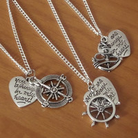 You are always in my heart Necklaces Anchor Rudder Compass necklaces, best friends, sisters, silver necklaces, Friendship Gift