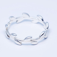 925 sterling silver Olive leaves ring, personalized fashion ring,a perfect gift
