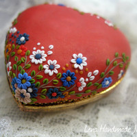 I give you my heart Pendant by Stories Made by Hand Polymer clay Apllique / Embroidery red white blue