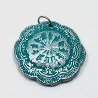 Bright Turquoise and Silver Vintage-Style Ceramic Pendant