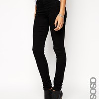 ASOS TALL Longer Length Ridley High Waist Jeans in Black