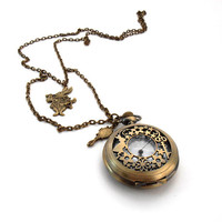 March Hare Pocket Watch Necklace, Alice Through The Looking Glass Locket, Alice In Wonderland Jewelry