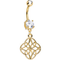 Clear CZ Gold Anodized Titanium Celtic Wonder Dangle Belly Ring   Body Candy Body Jewelry