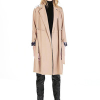 Khaki Trench Coat with Contrast Camo Cuffs
