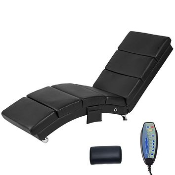 YOLENY Electric Massage Recliner Chair - Leather Chaise Lounge Indoor Chair, Modern Long Lounger for Office or Living Room,Black Black