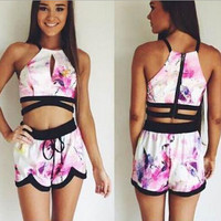 Sexy Print Sleeveless Shirt Top Tee Shorts Set Two-Piece