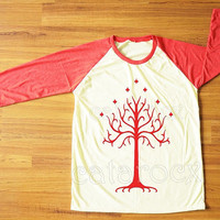 Red Tree T-Shirt Lord of The Rings T-Shirt Gondor T-Shirt Red Sleeve Tee Shirt Women Shirt Men Shirt Unisex Shirt Baseball Tee Shirt S,M,L