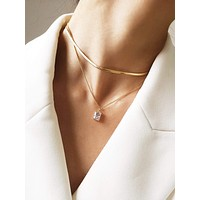 Rhinestone Layered Chain Necklace 1pc