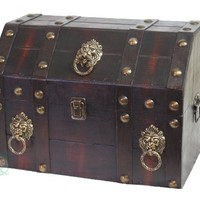 Vintiquewise(TM) Antique Pirate Treasure Chest/Box with Lion Rings