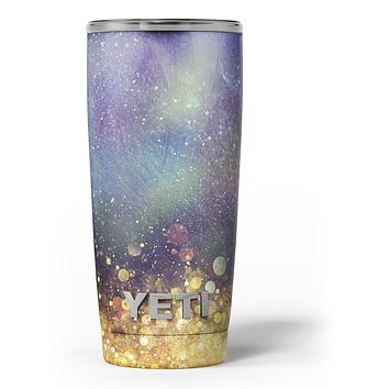 Unfocused MultiColor Gold Sparkle - Skin Decal Vinyl Wrap Kit compatible with the Yeti Rambler Cooler Tumbler Cups