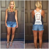 Enchanted Rose Knit Tank - CHARCOAL GREY