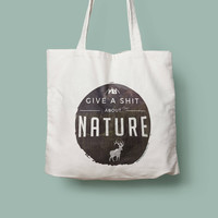 Give a shit about nature reusable shopping tote bag