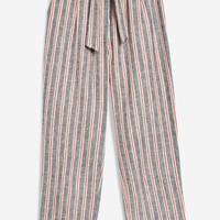 Striped Belted Peg Trousers - Trousers & Leggings - Clothing