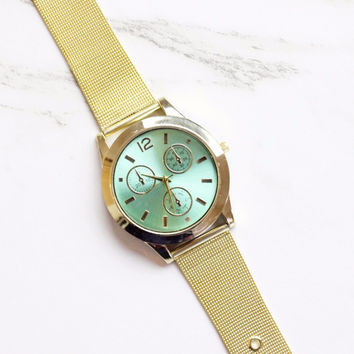 Turquoise and Gold Fashion Watch