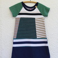 Recycled T Shirt Dress for Girl Size 8 made from Upcycled T-shirts, Raglan Sleeve Recycled Tshirt Dress for Girl, Upcycled T Shirt Dress