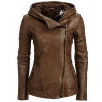 Hooded Long Sleeve Solid Color PU Women's Jacket