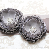 Gray Wedding Ribbon Sash/ Handmade Accessory