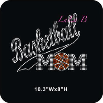 Basketball mom iron on hot fix rhinestone bling transfer - DIY motif design appliqué for shirts t shirts tees - custom hotfixe