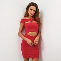 Women Simple Fashion Off Shoulder Hollow Short Sleeve Solid Color Bodycon Mini Dress
