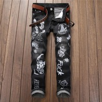 Hot Sale Print Alphabet Slim Denim Pants [7417640067]