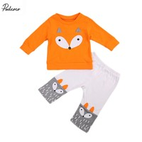 2PCS Cute Newborn Infant Baby Girls Boys Fox Ear Long Sleeve Tops T shirt Pants Outfits Clothes Set