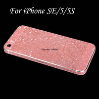 Full Body Glitter Bling Sticker For iPhone SE Strass Coque Luxury Shining Skin Cover Case For Apple iPhone 5S Funda Capa Capinha