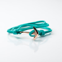 Men's Rose Gold Anchor Leather Bracelet (Teal)