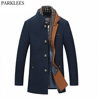 Thicker Mens Trench Coats Winter Long Wool Trench Coat Men Slim Fit Casual Jackets Peacoat Double Collar Woolen Overcoat
