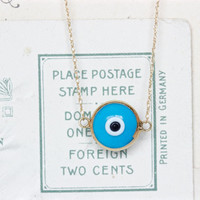 Dainty Evil Eye Necklace | Solid 14k Yellow Gold Charm Necklace | Layering Jewelry | Sky Blue | Tiny Circle Necklace | All Seeing Eye