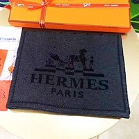 Hermes Autumn And Winter Fashion Letter Horse Women Men Keep Warm Scarf Dark Gray